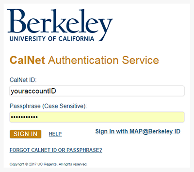 Log in to CalNet