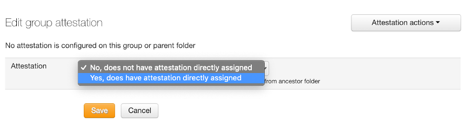 """Select """"Yes, does ave attestation assigned"""""""