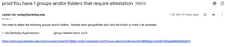 """Email reading """"You will need to attest the following groups and folders"""""""