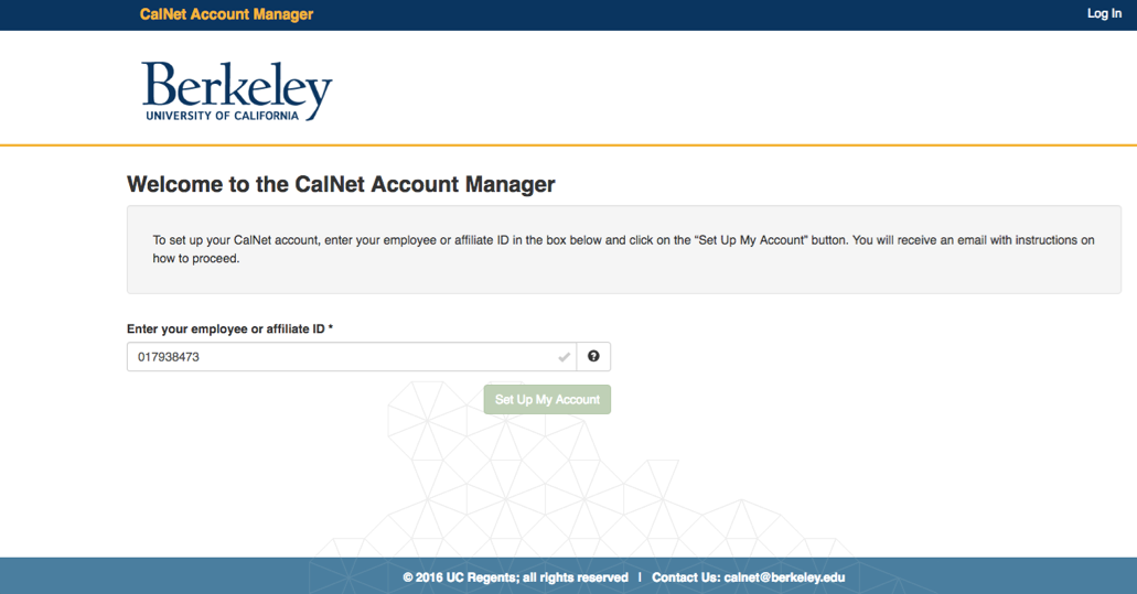 Welcome to CalNet Account Manager. Please insert your student or affiliate ID