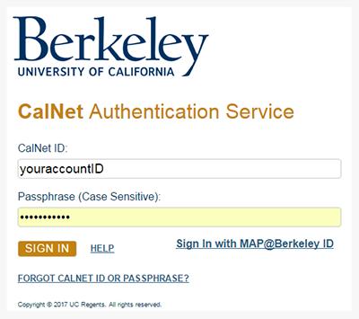 CalNet CAS Login Screen