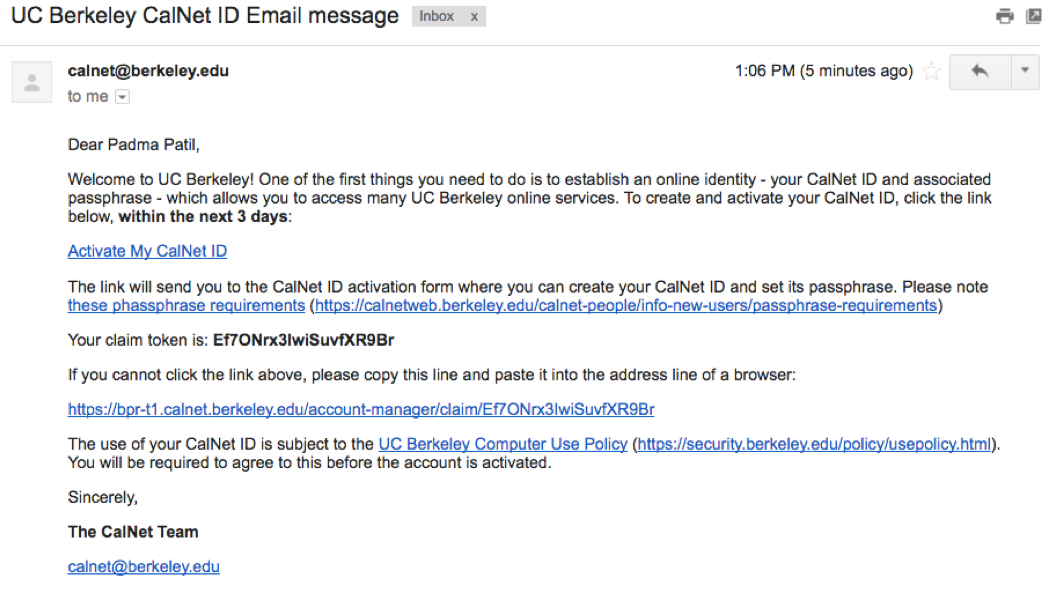 Email with link to activate calnet account and claim token
