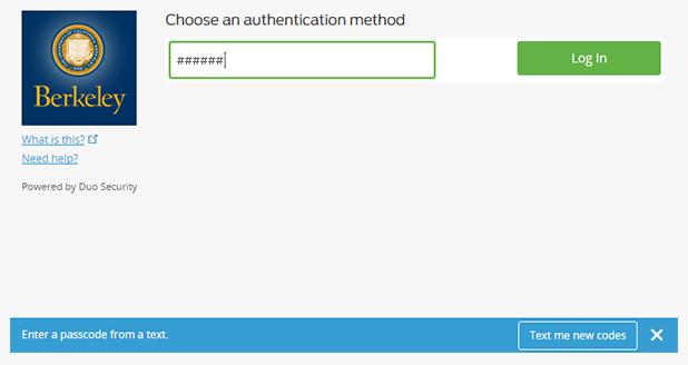 Enter passcode