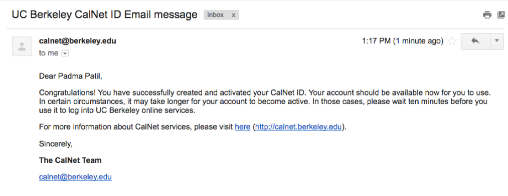 You have successfully activated your calnet ID