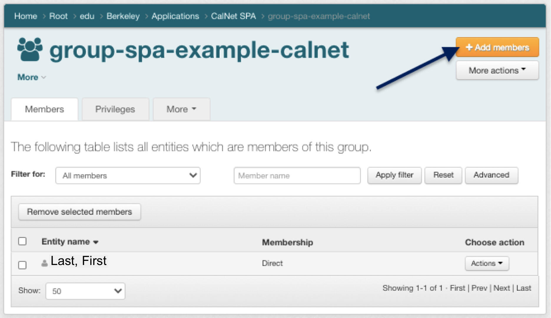 """SPA home, arrow pointing to """"Add Members"""" Button"""