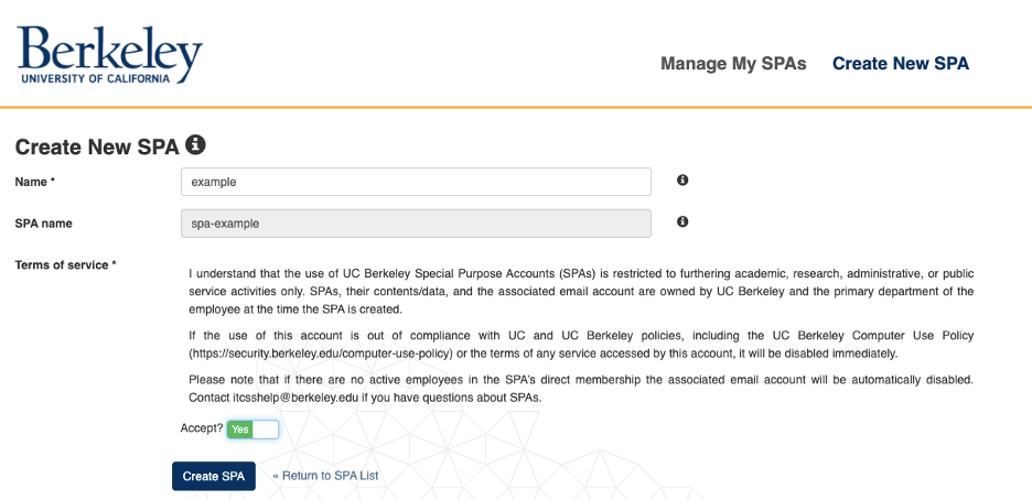 """SPA form filled out and """"accept"""" selected"""
