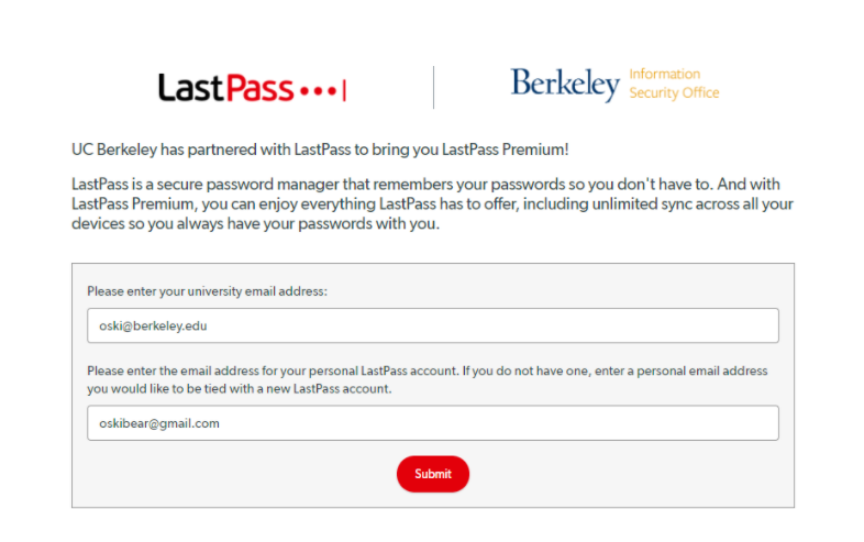 Please enter the address of your personal lastpass account