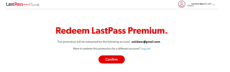 Redeem Lastpass Premium, Confirm button