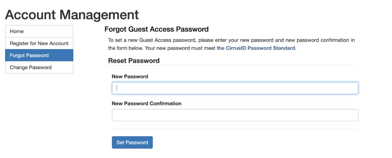 Alternative Login Create New Password
