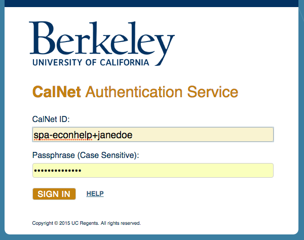 SPA name + calnet ID