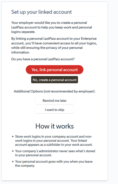 Option to Link Personal Account